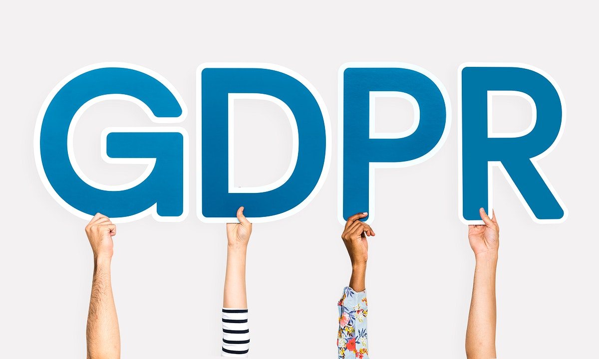 Blue letters forming the word GDPR