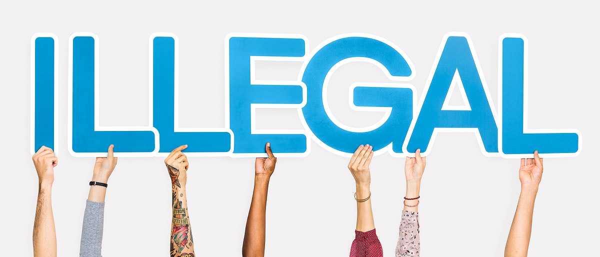 Blue letters forming the word illegal