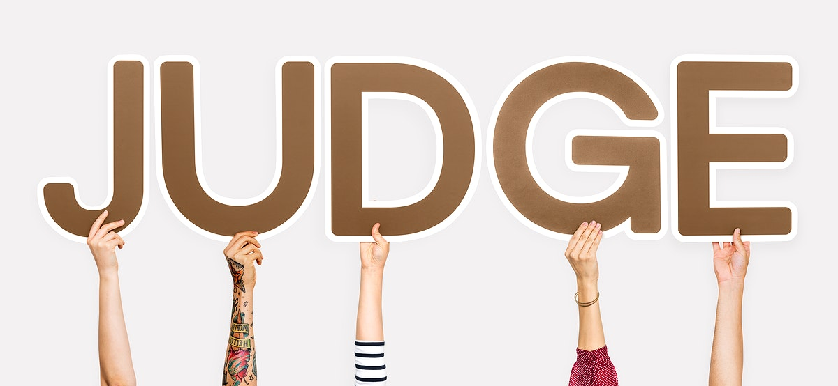 Brown letters forming the word judge