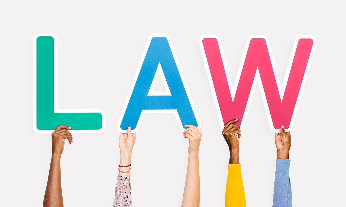 Colorful letters forming the word law