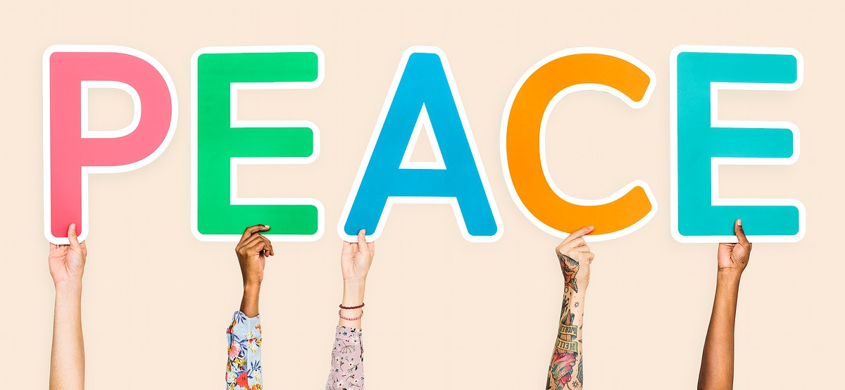 Colorful letters forming the word peace