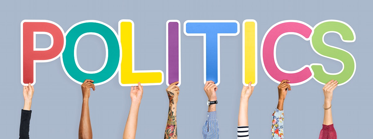 Colorful letters forming the word politics