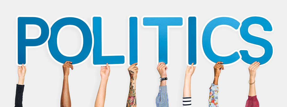 Blue letters forming the word politics