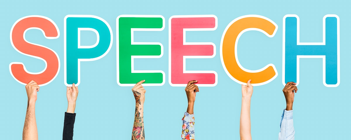 Colorful letters forming the word speech