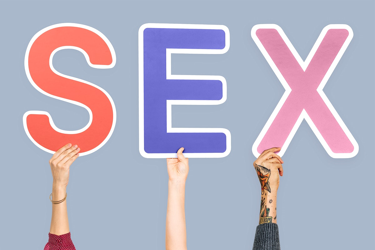 Hands holding the word Sex