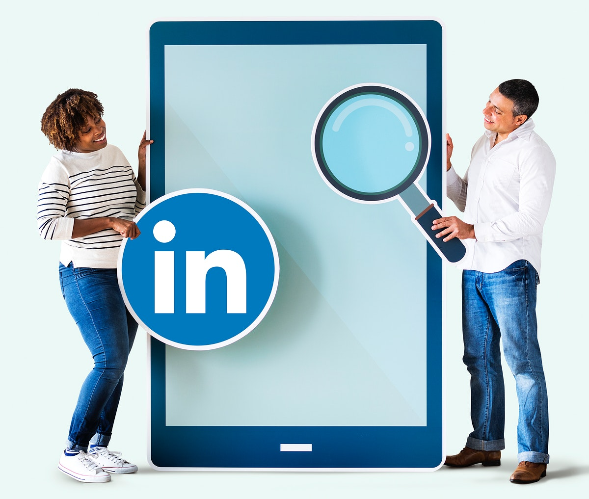 People holding a Linkedin icon and a tablet