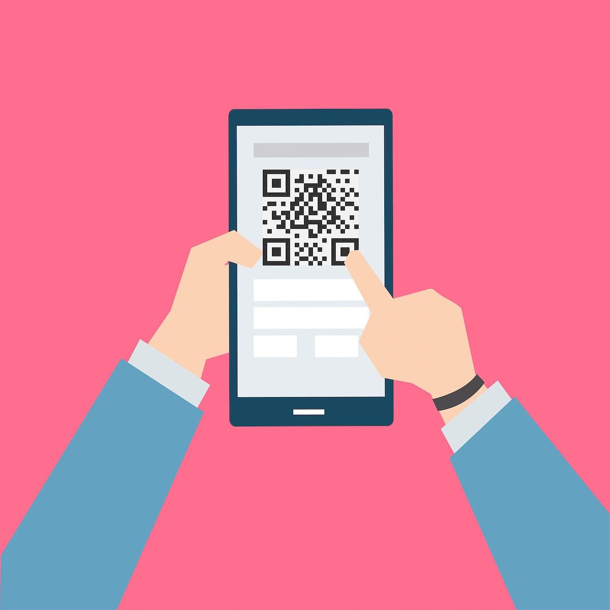 Businessman holding a smartphone illustration