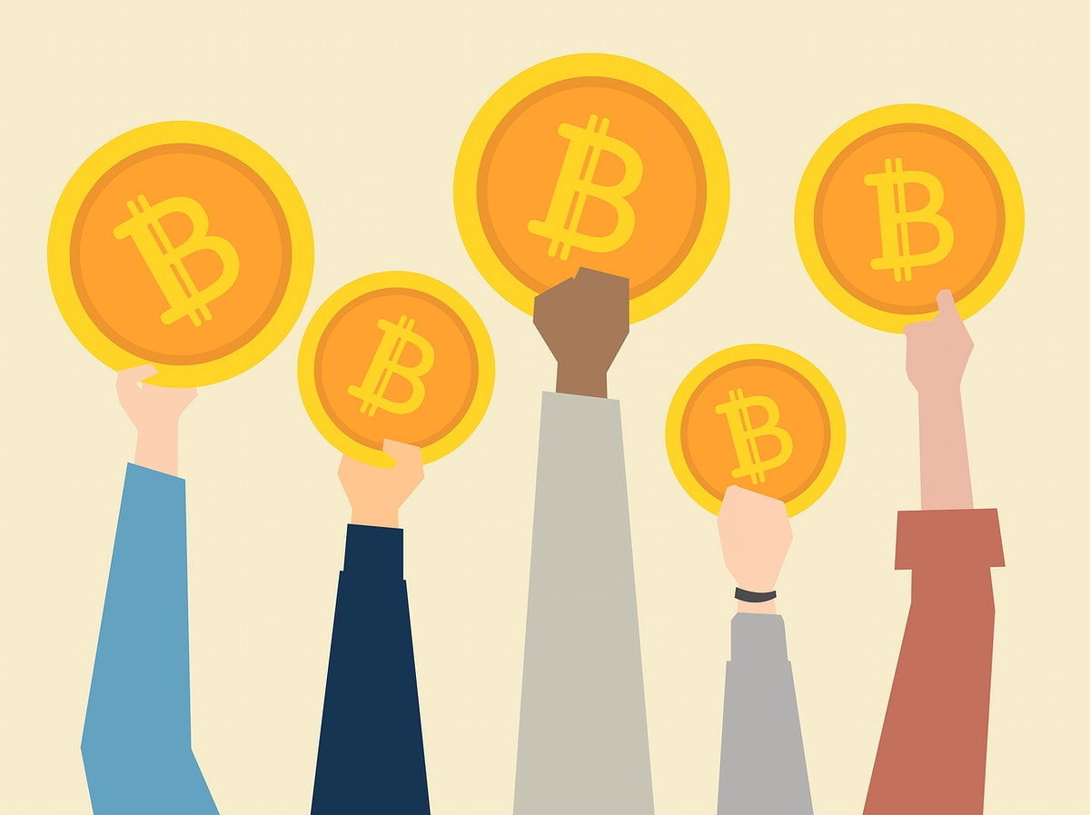People holding up cryptocurrency illustration