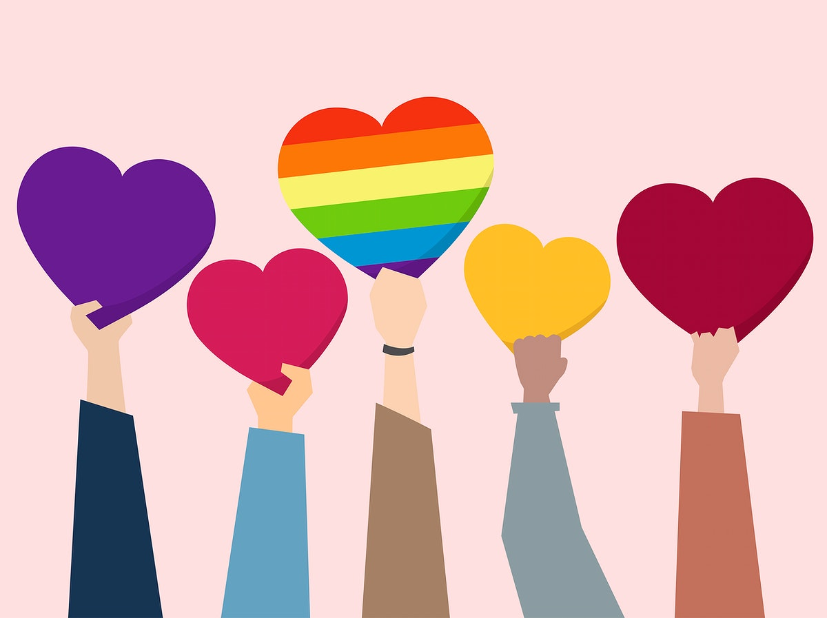 People holding up hearts illustration