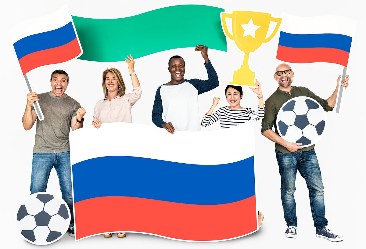 Diverse football fans holding the flag of Russia