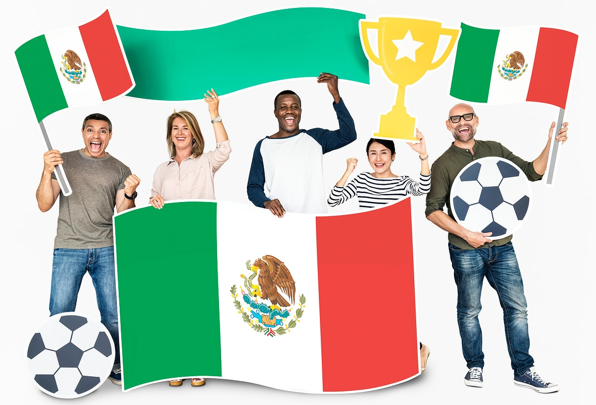 Diverse football fans holding the flag of Mexico