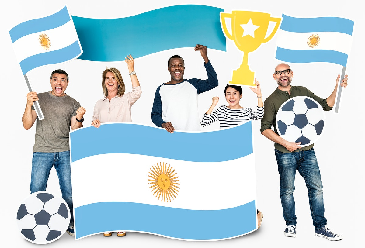 Diverse football fans holding the flag of Argentina