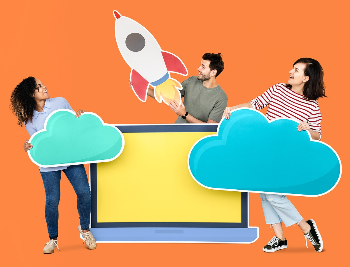 Cloud storage and innovation concept shoot featuring a rocket icon