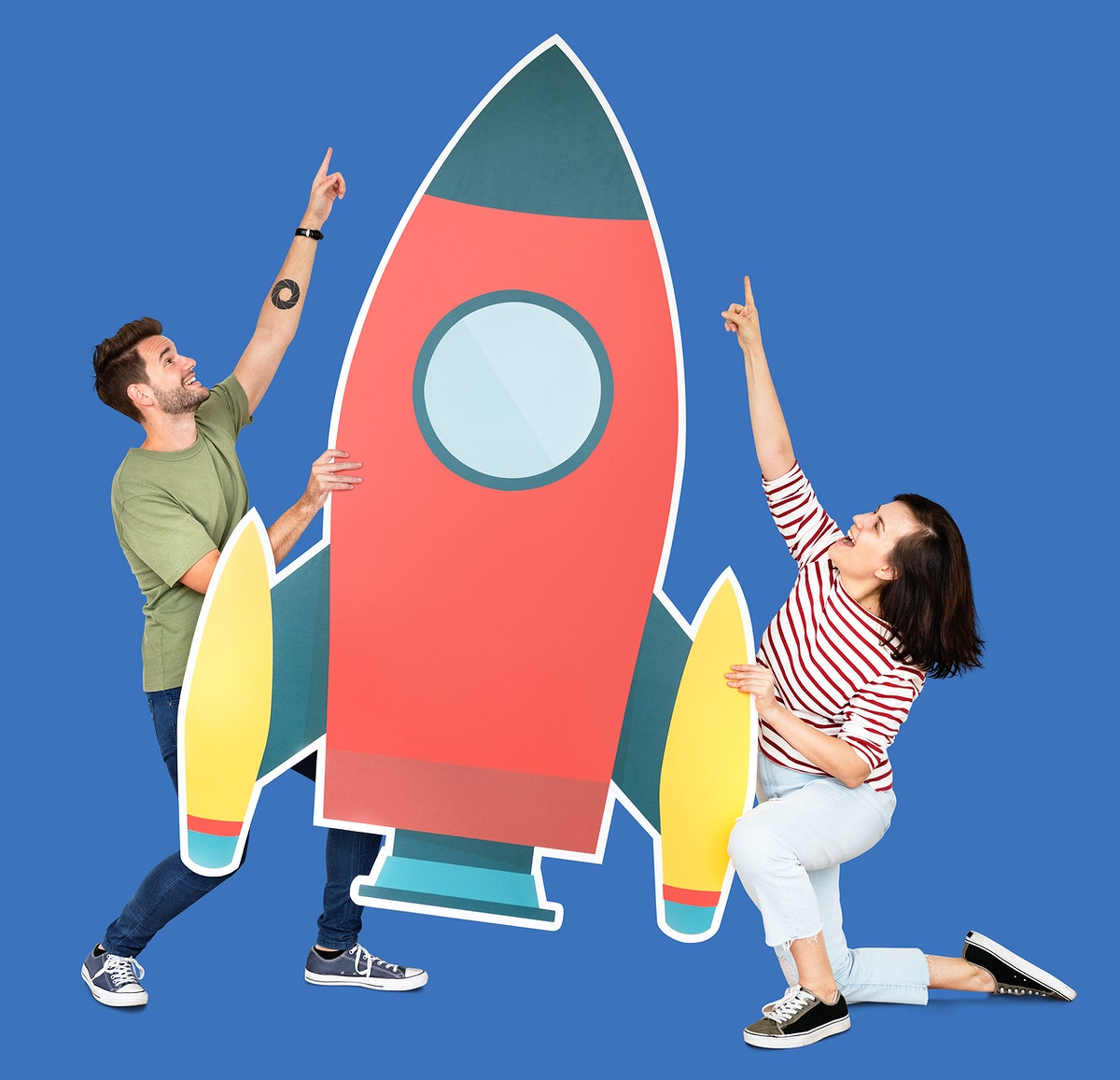 Technology and innovation concept shoot featuring a rocket icon