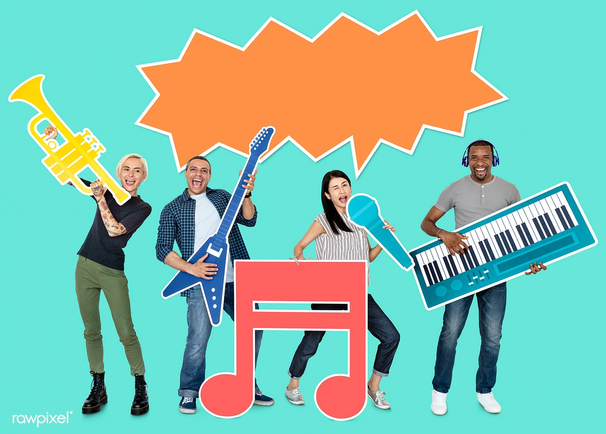 Download premium psd of Musical band holding various musical instrument