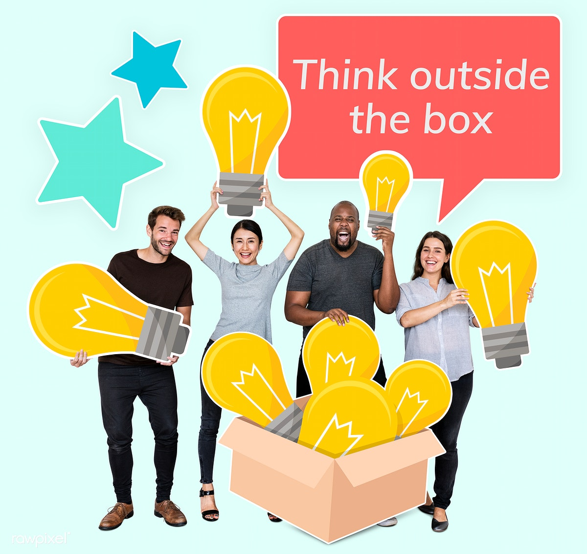 Download premium psd of Think outside the box people with light bulb