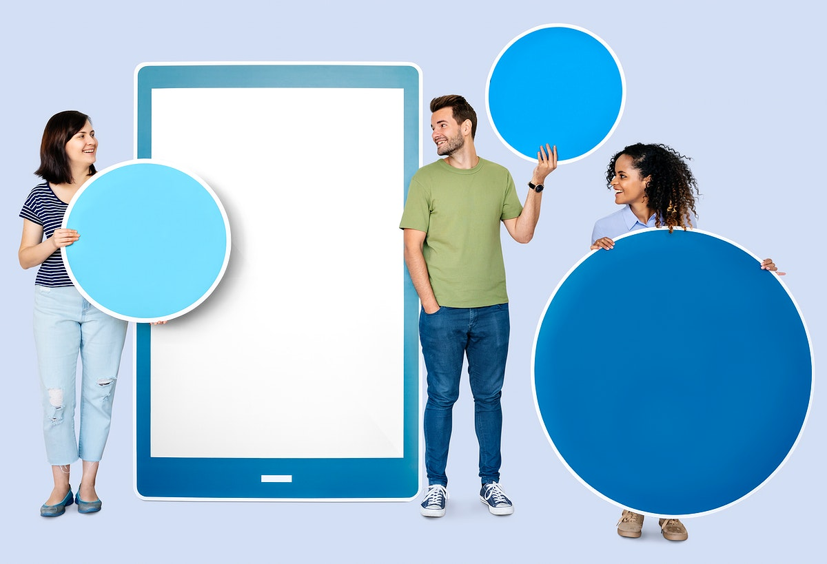 People holding geometric icons in front of a  paper cutout of a tablet