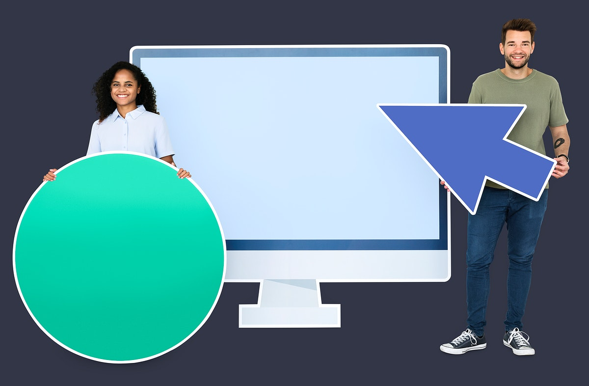 People holding icons in front of a computer monitor paper cutout