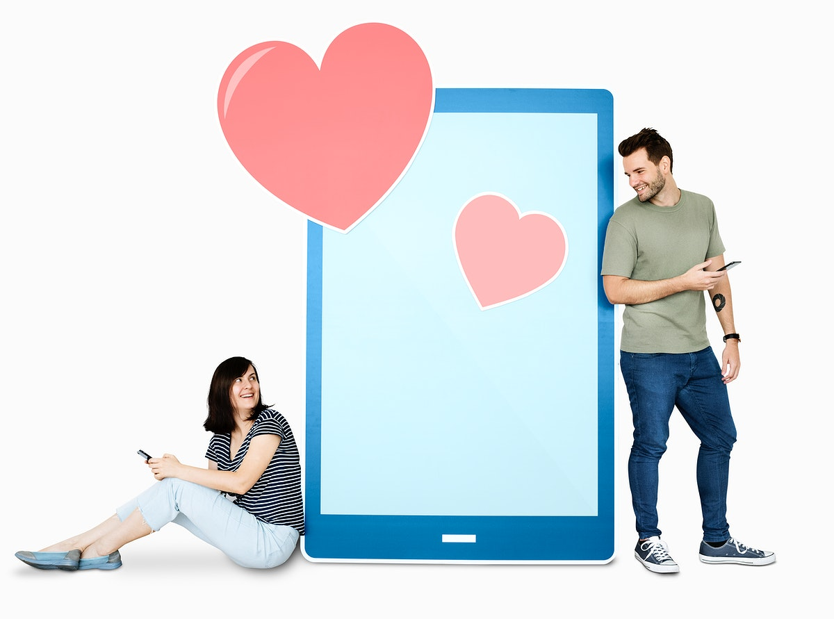 Couple texting loving message to each other