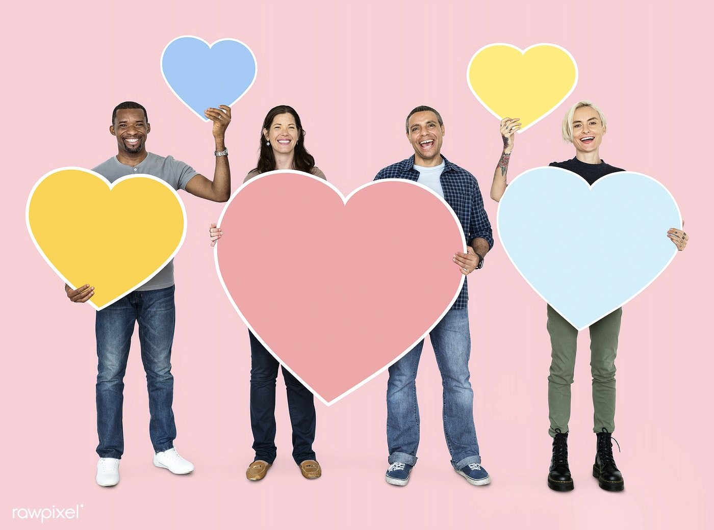 Diverse People Holding Heart Shaped Symbols Id 470121