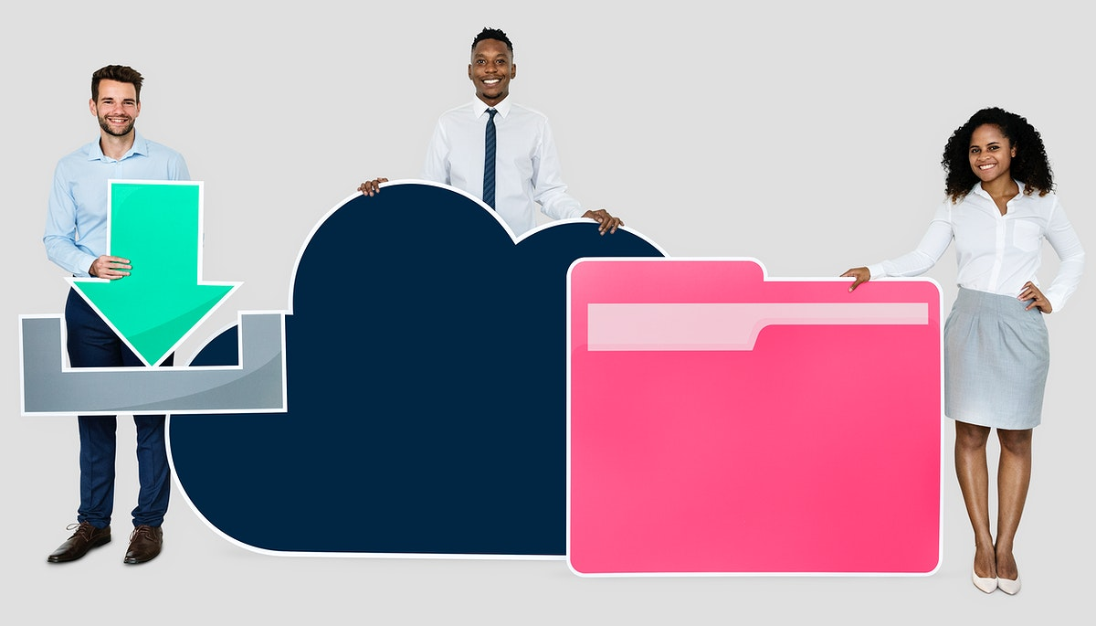 Cloud storage and download concept shoot
