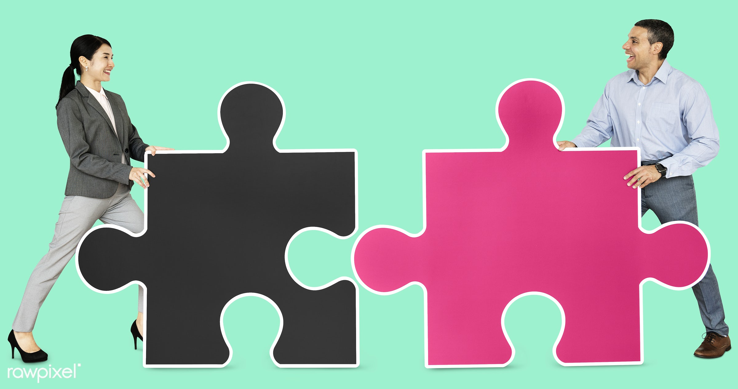 business people connecting jigsaw puzzle pieces id 470255