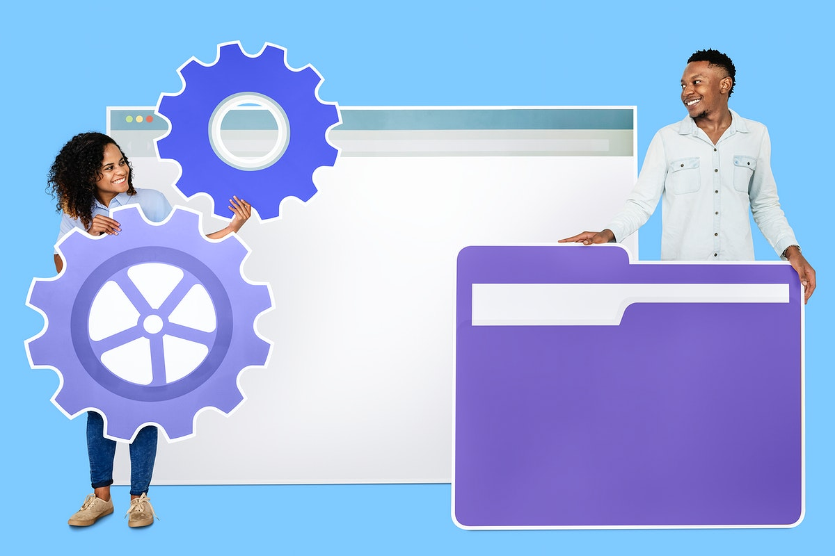 People with a webpage, a folder, and a setting icons