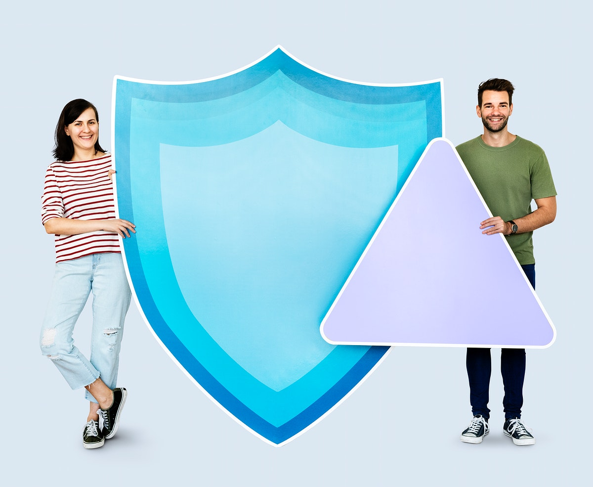 People with icons in the theme of security