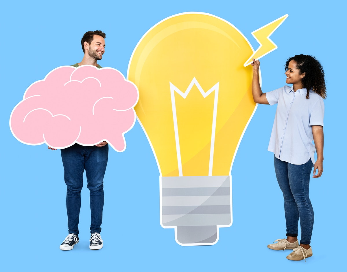 People carrying a light bulb and a brain icons