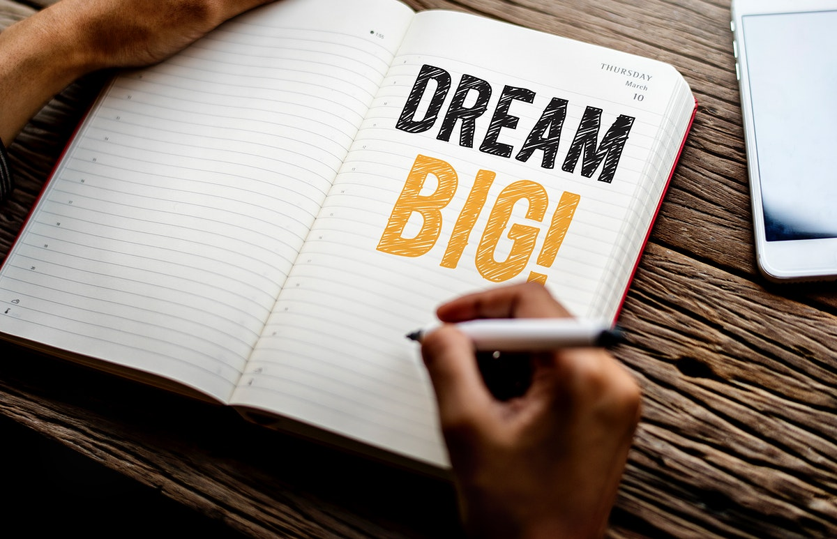 Phrase Dream big on a notebook