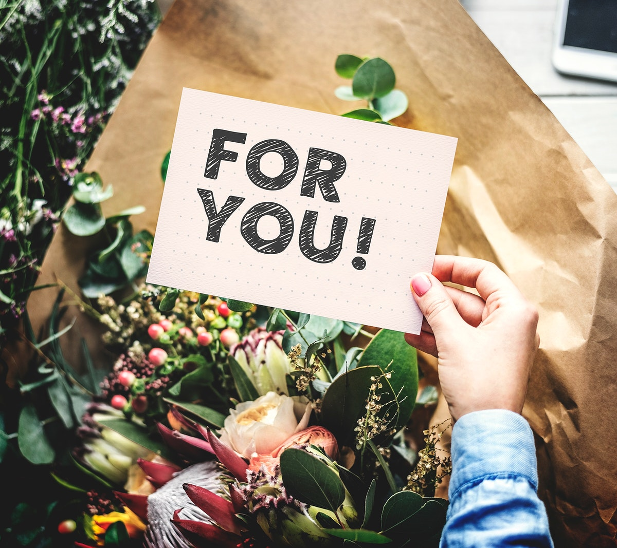 Flowers and a phrase For you on a card