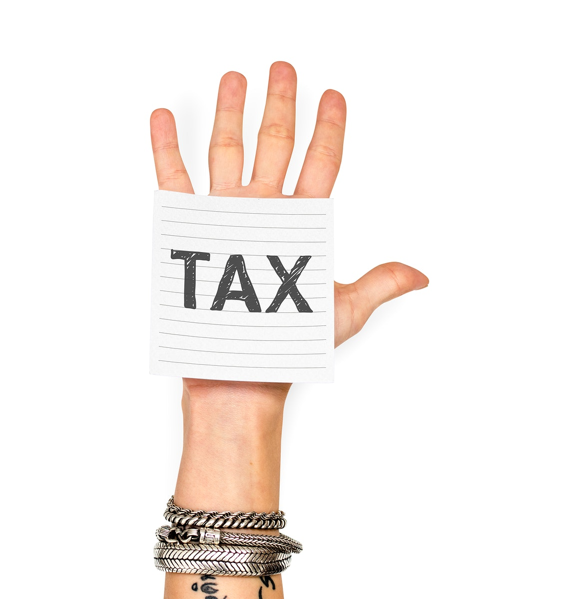 Hand showing a sticky note with Tax