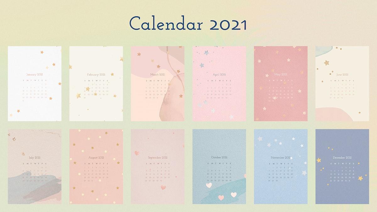 Calendar Wallpaper 2022.2021 Monthly Yearly Calendar Royalty Free Editable Vector Psd Templates Rawpixel