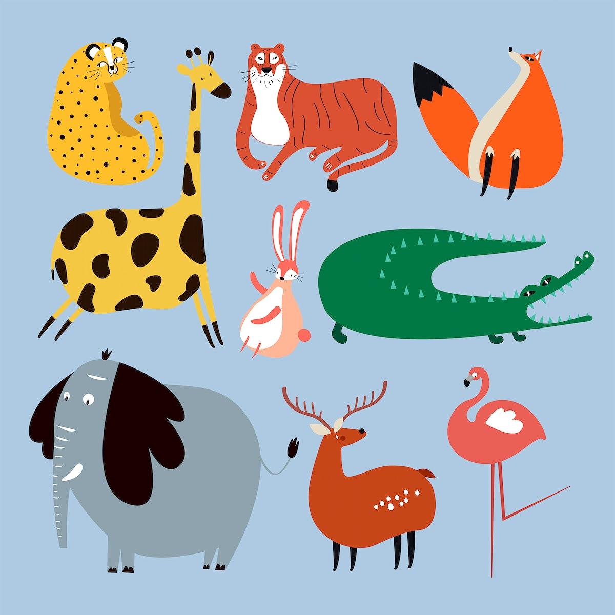 Colorful wildlife sticker vector cute cartoon for kids set