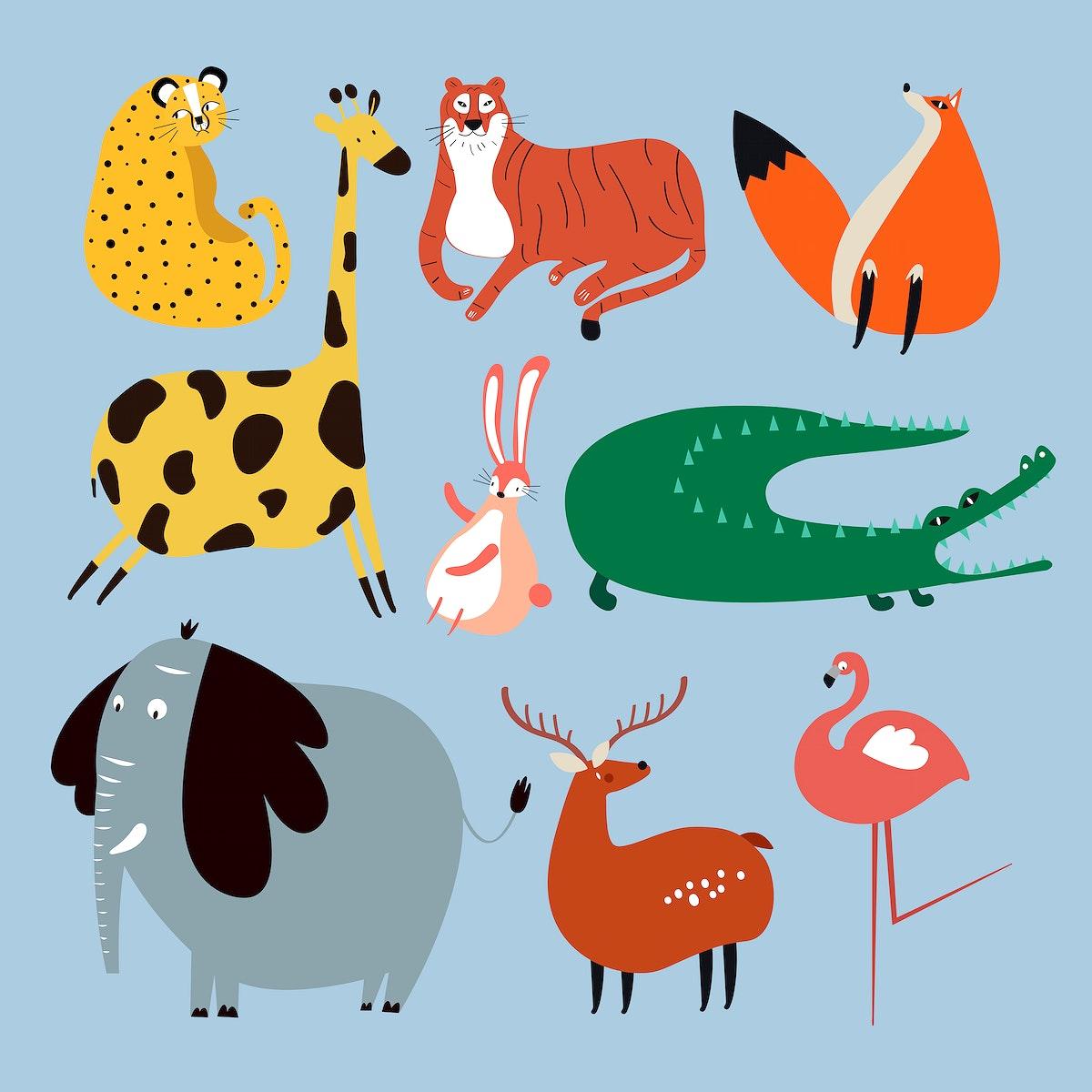 Colorful wildlife sticker psd cute cartoon for kids set
