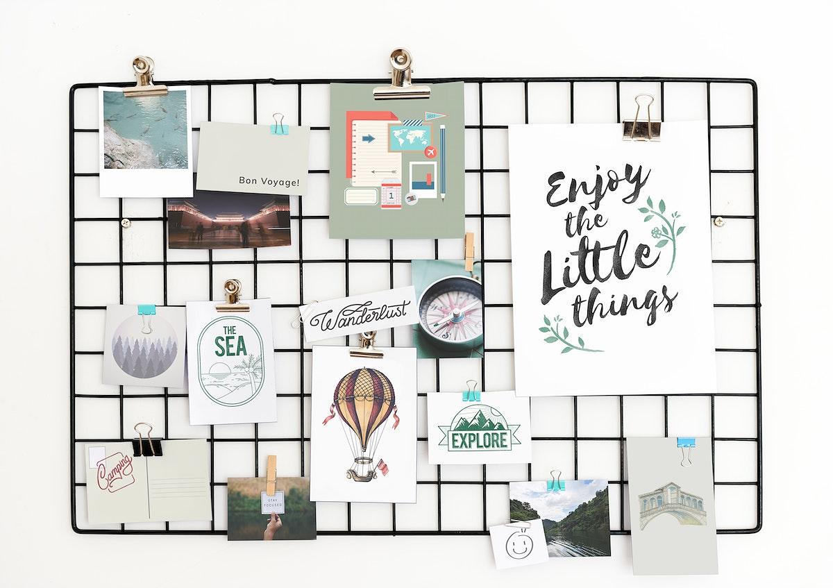 Travel and lifestyle postcard set on a rack