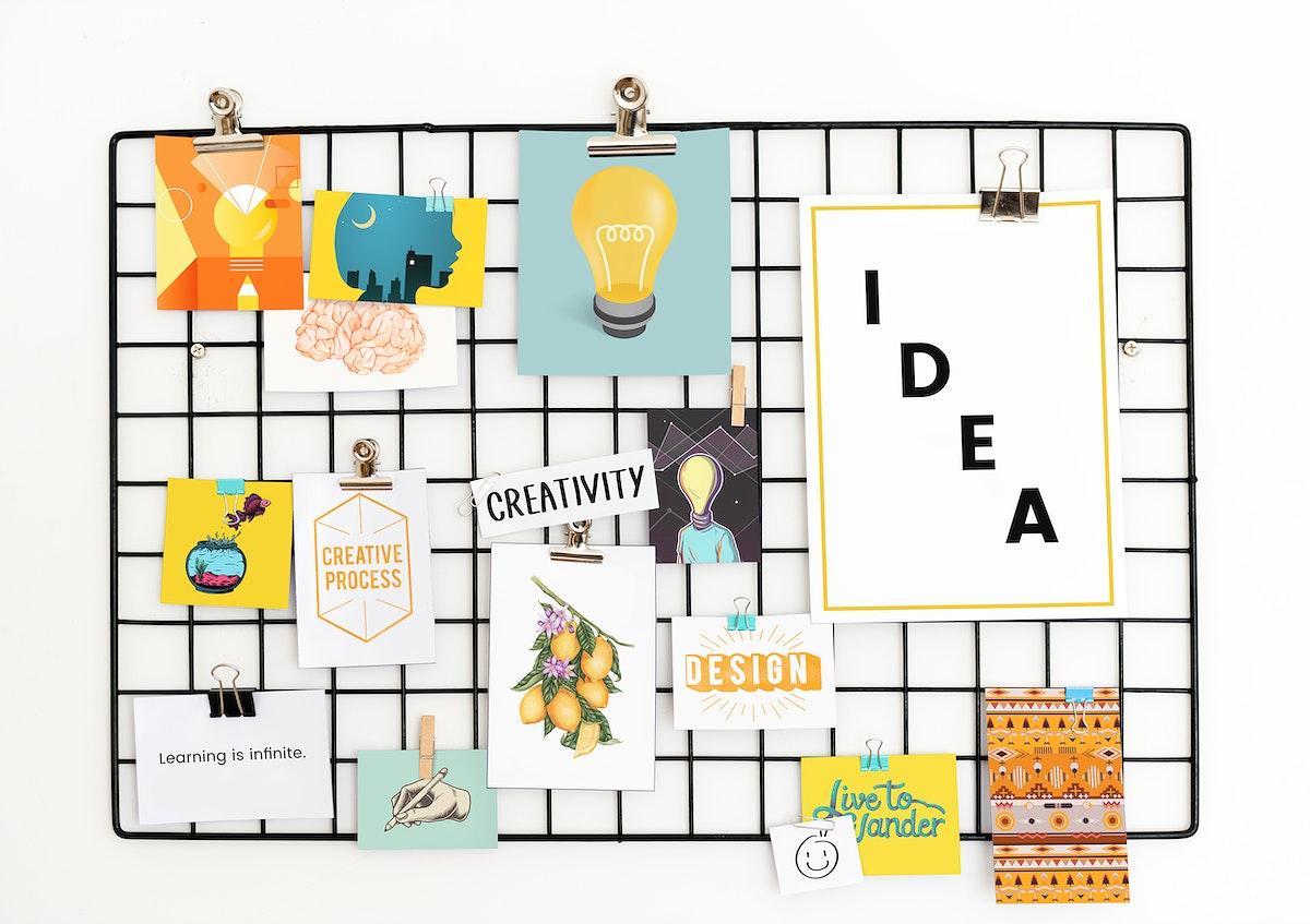 Creative postcard set on a rack
