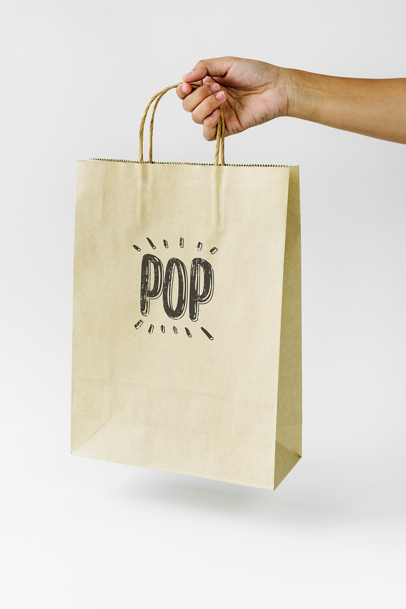 Natural paper bag branding mockup