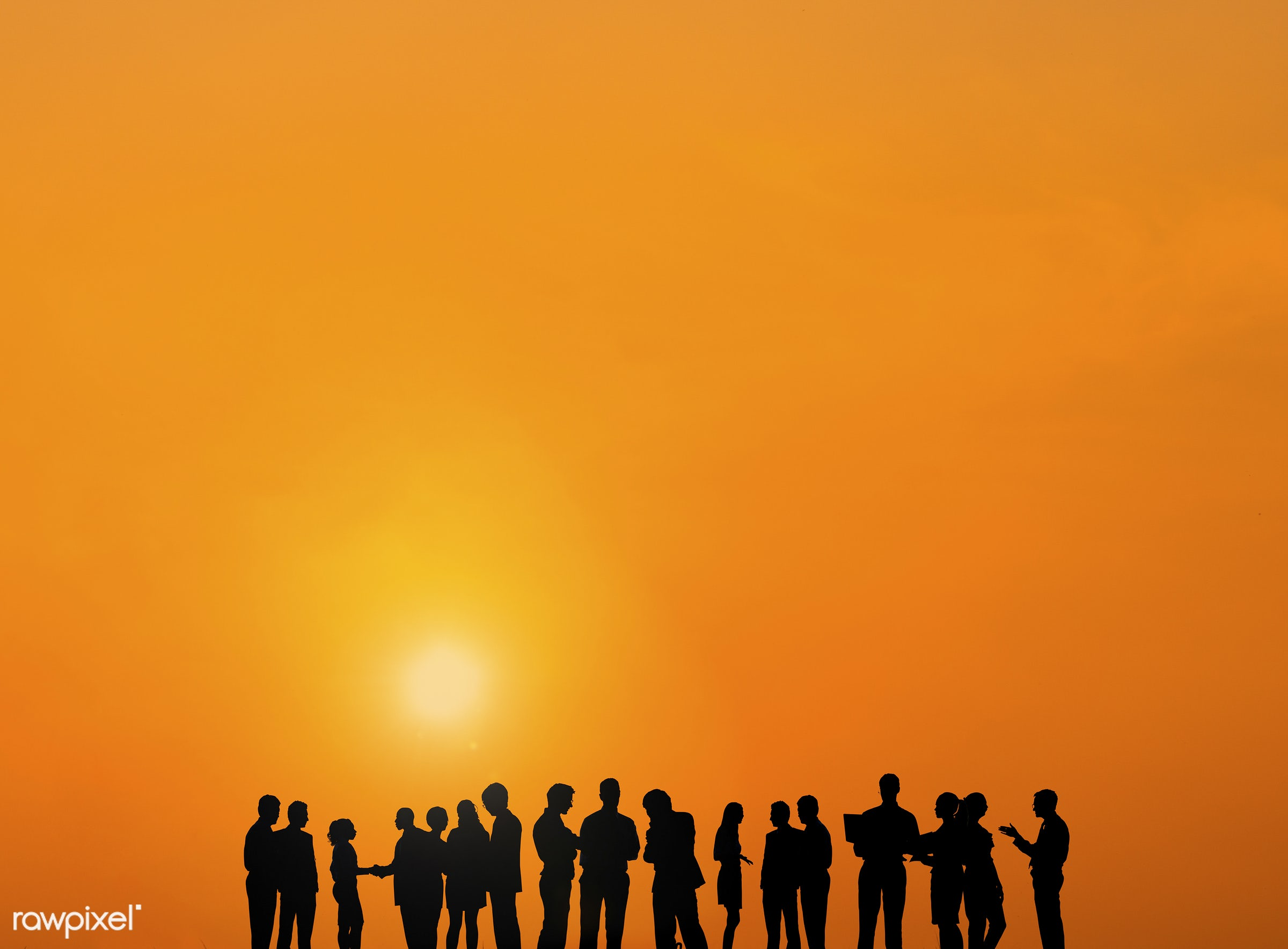 Silhouette of business people in a row communicating at sunset - backlit, business, business people, businessmen,...