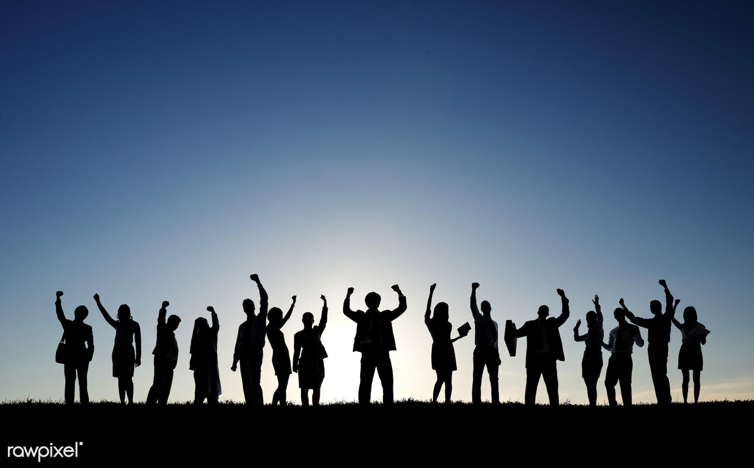 achievement, backlit, business, business people, businessmen, businesswomen, celebrating, cheerful, collaboration,...