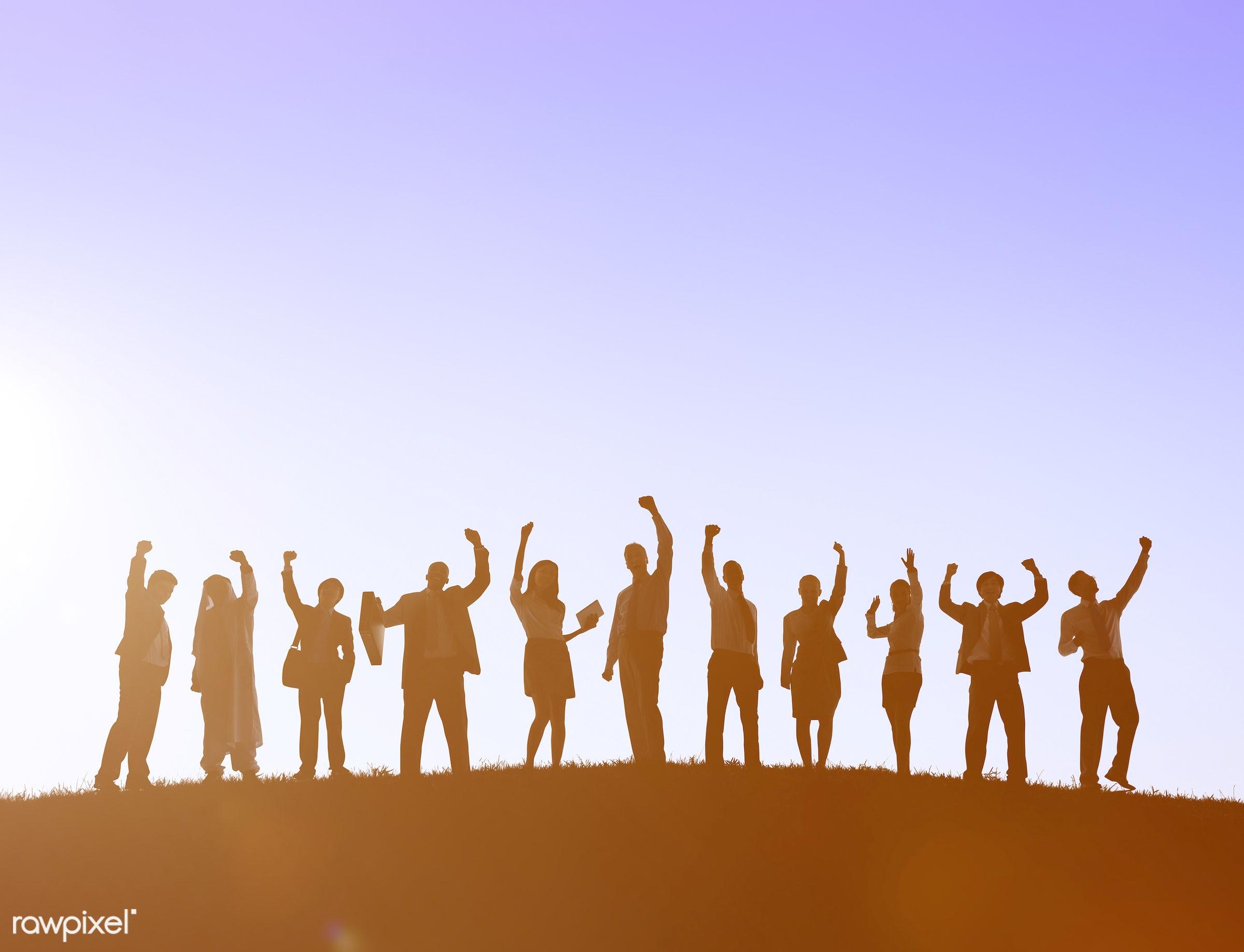 accomplishment, achievement, arms raised, aspiration, backlit, business, business people, businessmen, businesswomen,...