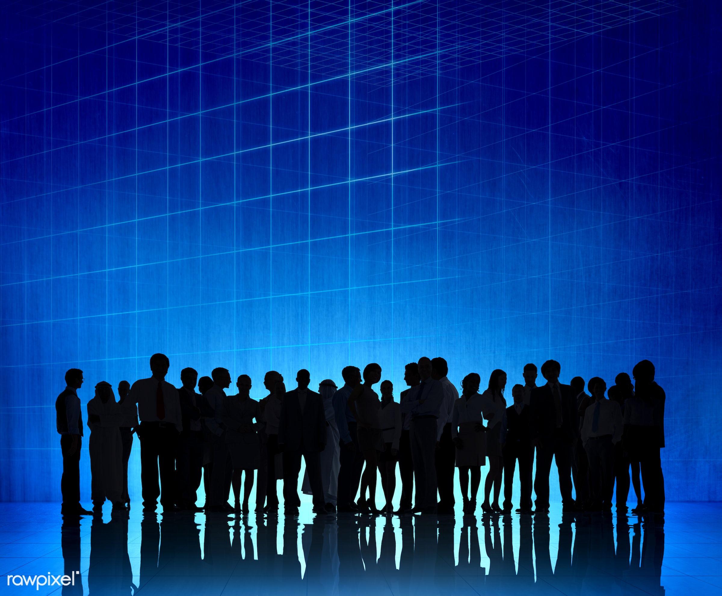 Large group of business people - backlit, blue, business, business people, businessmen, businesswomen, colleague,...