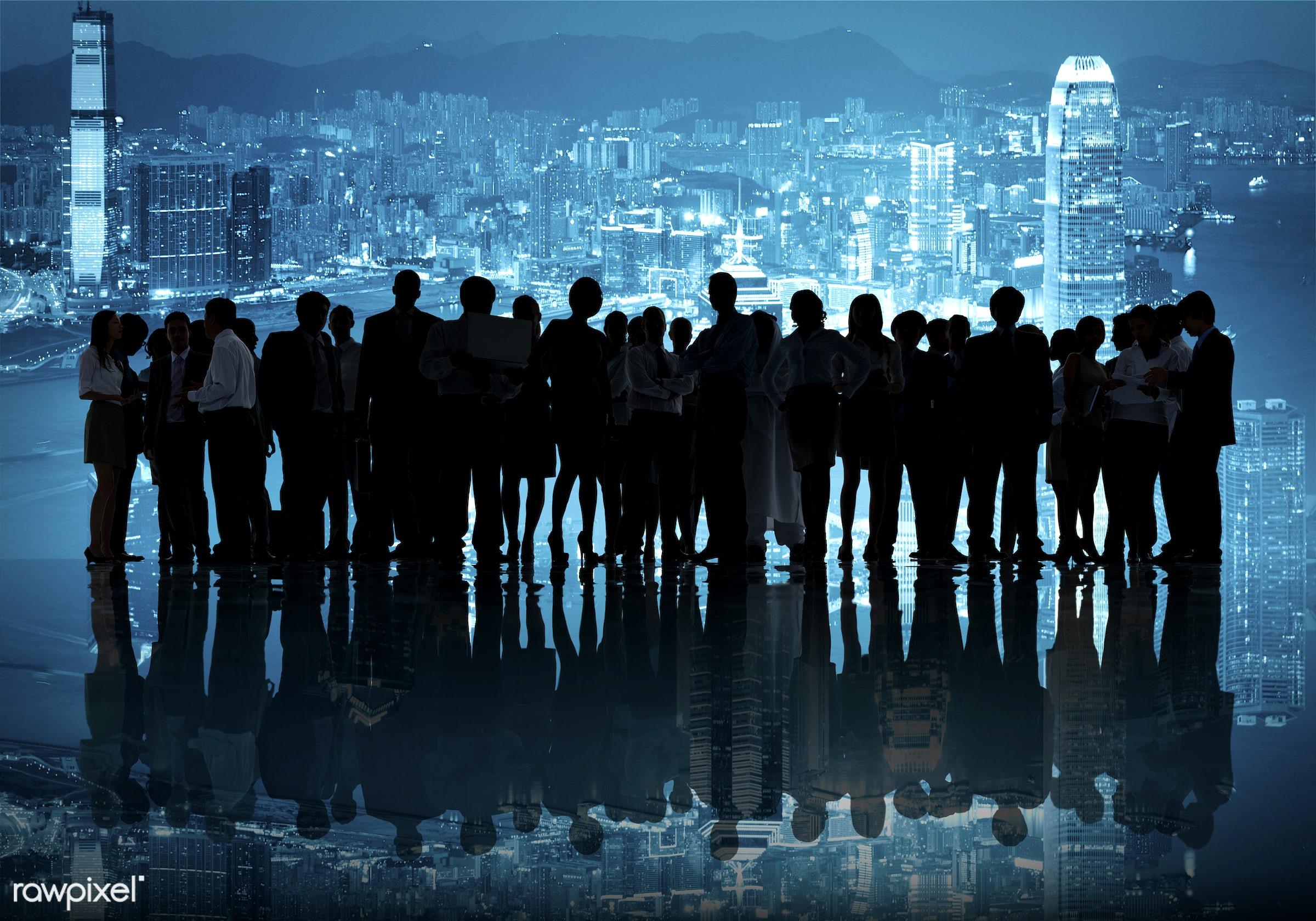 blue, business people, businessmen, businesswomen, city, city scape, colleagues, connection, corporate, coworker, diverse,...