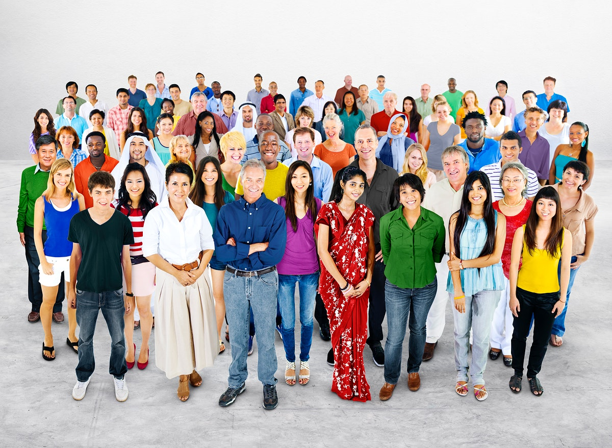 Group of diverse people studio