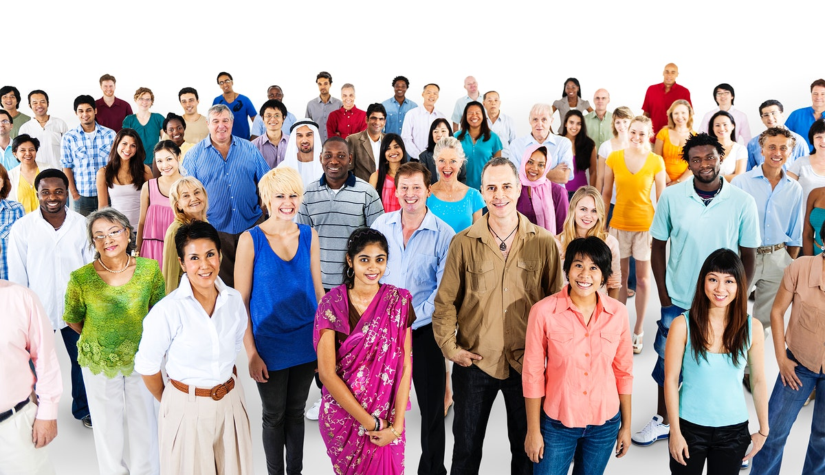 Group of diverse people standing together isolated on white