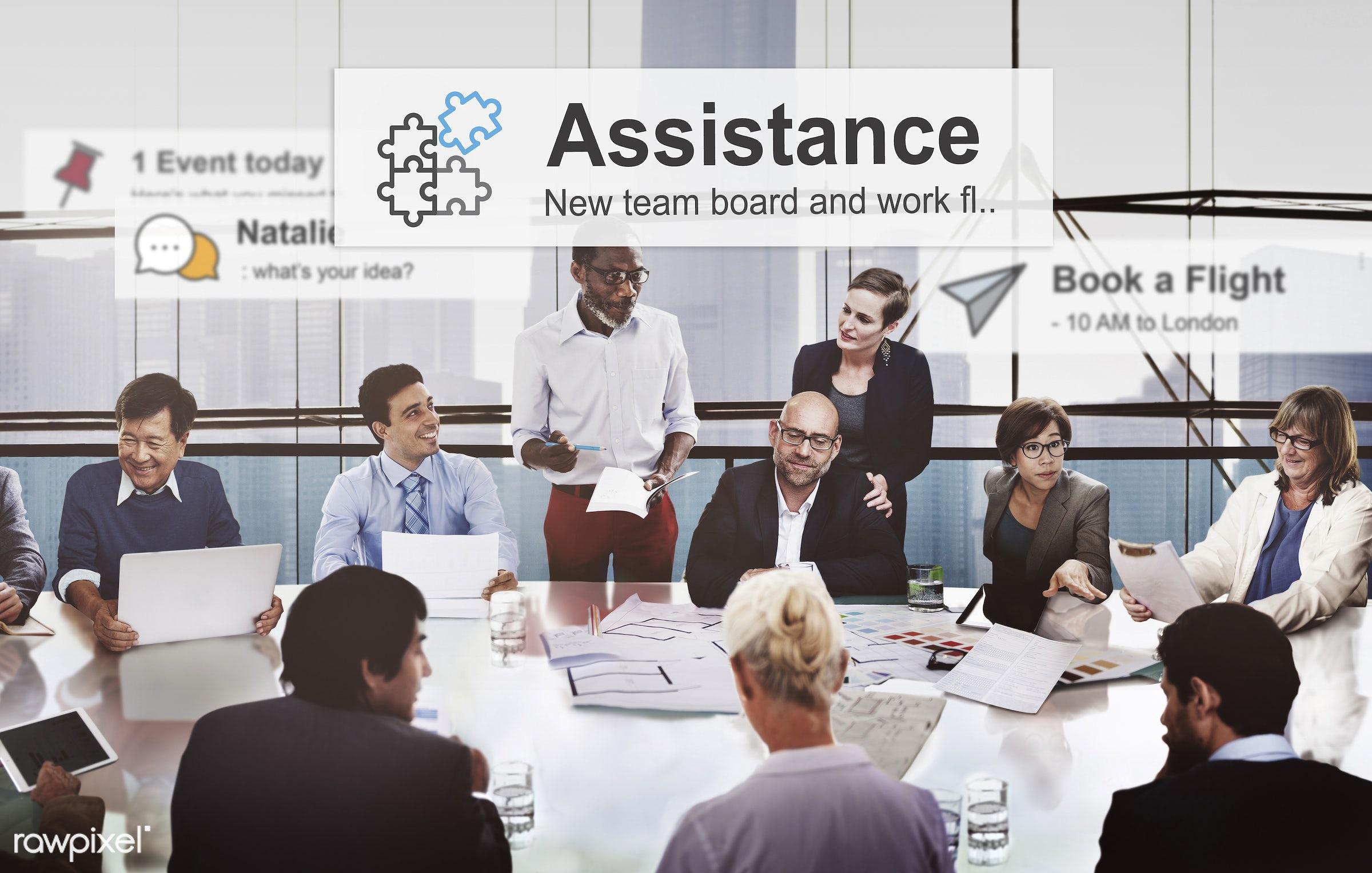 meeting, african descent, alarm, alerts, asian ethnicity, assistance, brainstorming, business people, businessmen,...