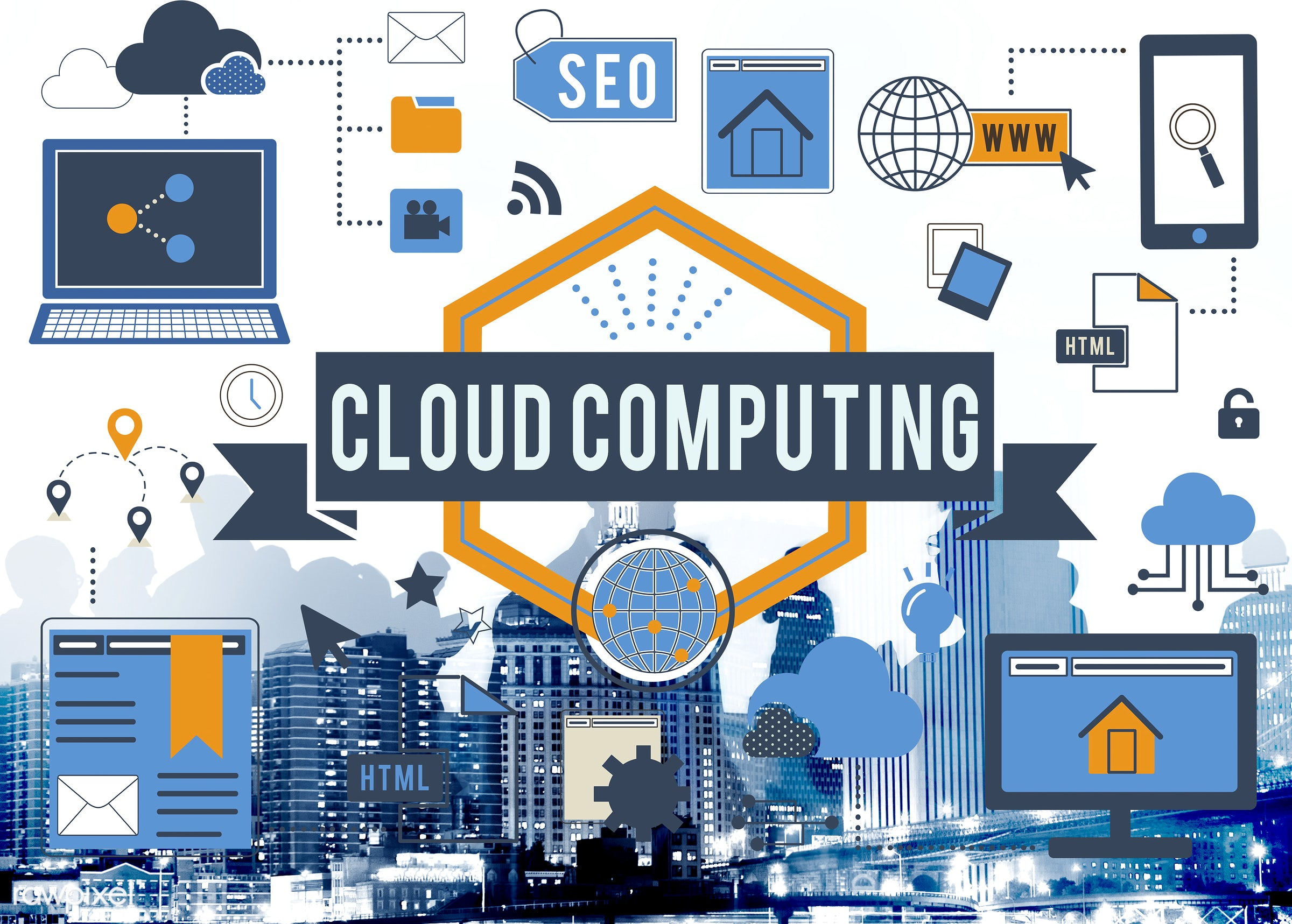cloud, cloud computing, networking, digital, abstract, back lit, brainstorming, building, business, businessmen,...