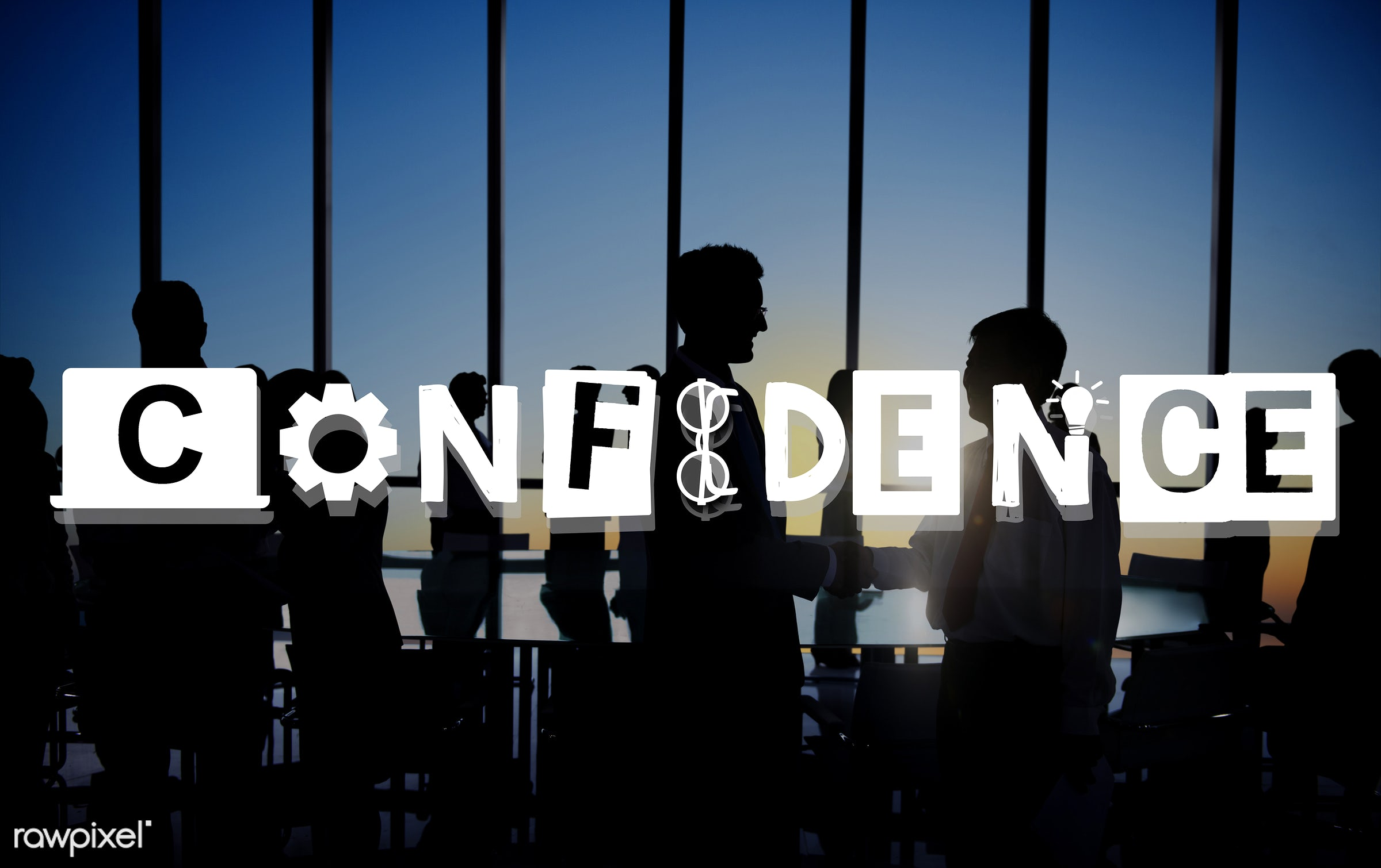 confidence, quality, window, ability, back lit, belief, business people, businessmen, businesswomen, cog, colleague,...