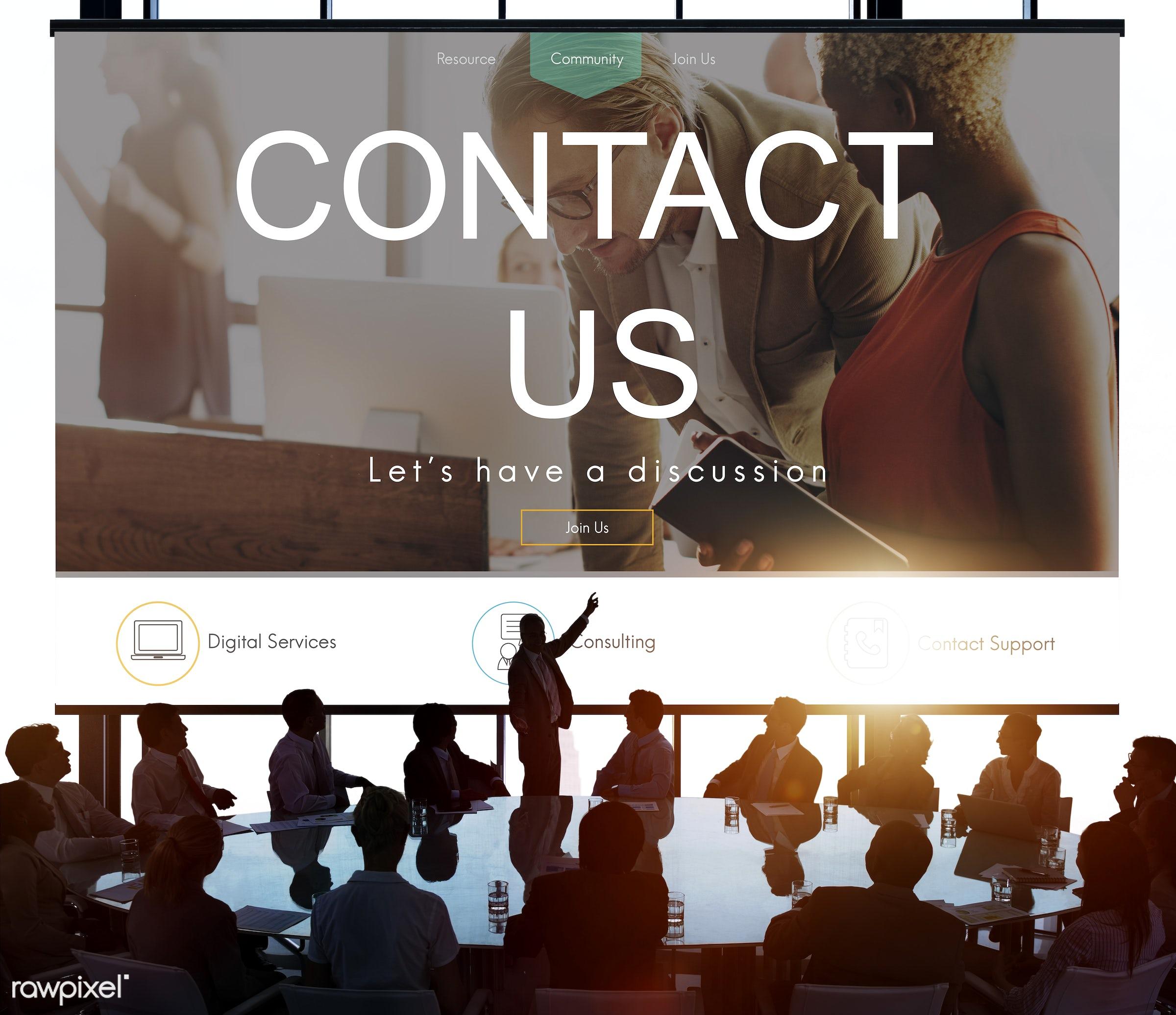 contact, helpdesk, presentation, answer, assistance, back lit, brainstorming, business, business people, businessmen,...