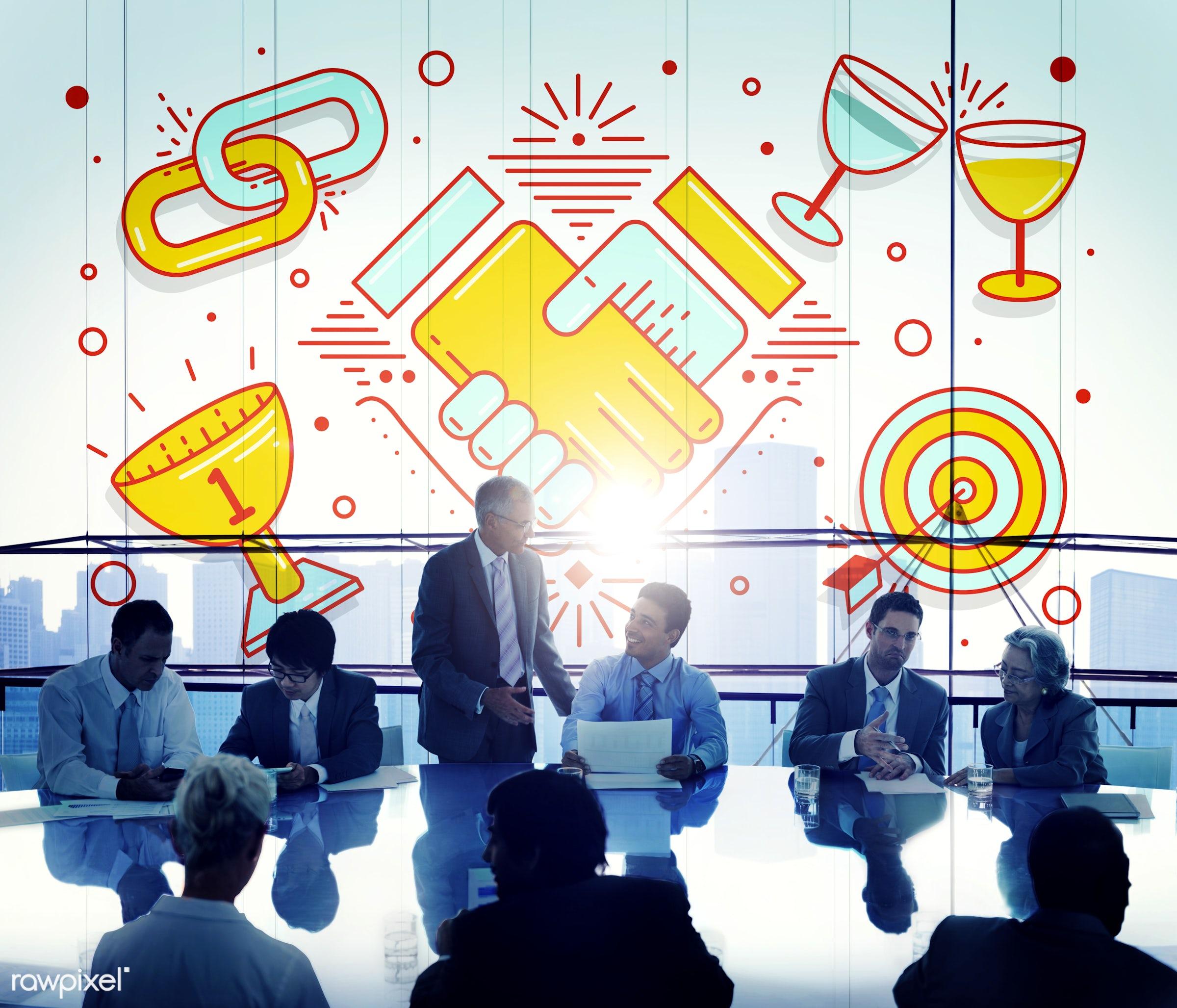 achievement, african descent, agreement, aiming, asian ethnicity, brainstorming, business, businessmen, businesswomen,...